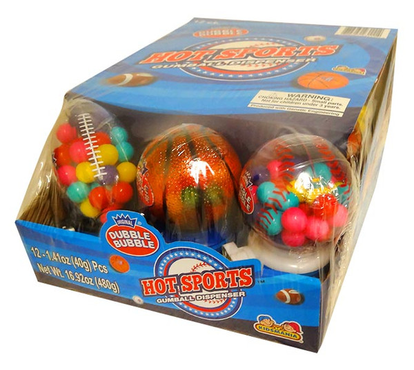 Dubble Bubble Hot Sports Gumball Dispenser, by Dubble Bubble/Tootsie Roll Industries,  and more Confectionery at The Professors Online Lolly Shop. (Image Number :13691)
