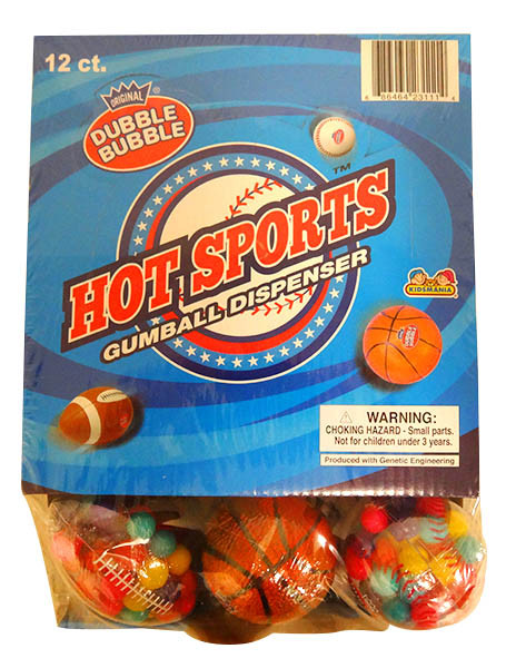 Dubble Bubble Hot Sports Gumball Dispenser, by Dubble Bubble/Tootsie Roll Industries,  and more Confectionery at The Professors Online Lolly Shop. (Image Number :13692)