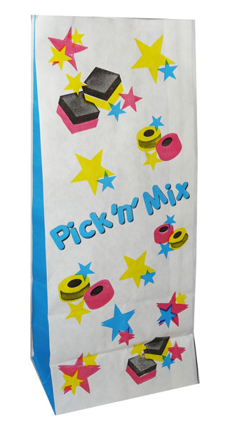 Pick  n  Mix Lolly Paper Bag and more Partyware at The Professors Online Lolly Shop. (Image Number :6812)