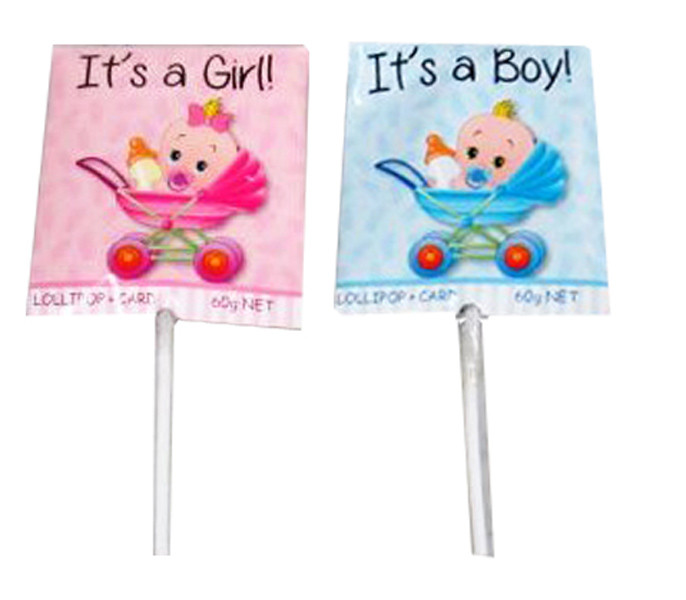 It s a Girl / Boy Lollipop + Card, by Lolly Mania/Other,  and more Confectionery at The Professors Online Lolly Shop. (Image Number :6992)