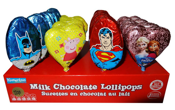 Assorted Licensed Chocolate Lollipops, by Confectionery Trading Company,  and more Confectionery at The Professors Online Lolly Shop. (Image Number :7117)