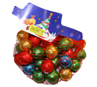 Christmas Foiled Milk Chocolate Solid Balls, by Jacquot,  and more Confectionery at The Professors Online Lolly Shop. (Image Number :8019)
