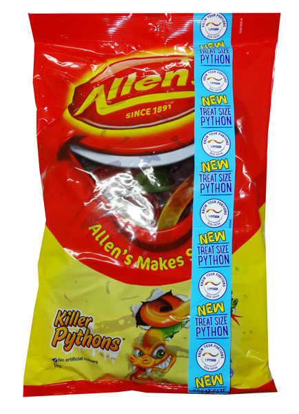 Allens Killer Pythons, by Allens Confectionery,  and more Confectionery at The Professors Online Lolly Shop. (Image Number :7066)