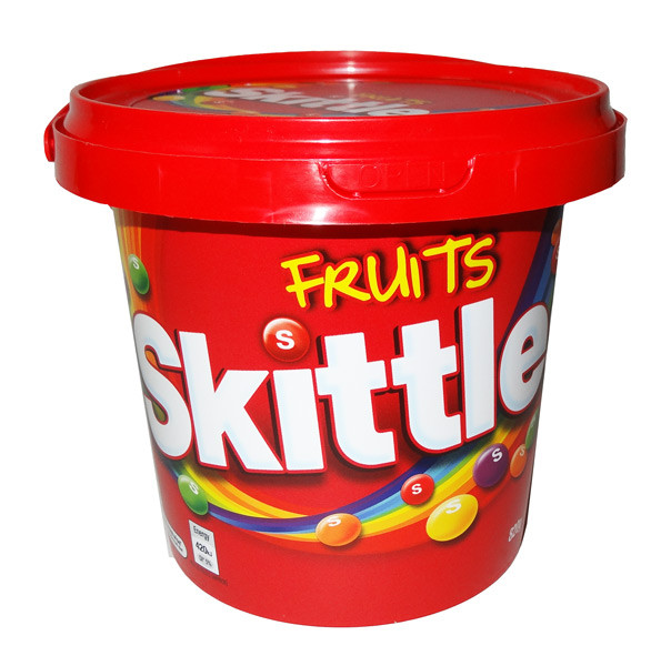 Skittles Bucket - Fruit, by Mars,  and more Confectionery at The Professors Online Lolly Shop. (Image Number :7115)