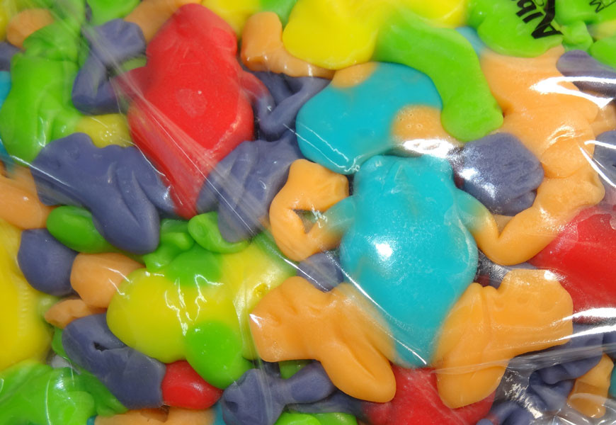 Gummi Rainforest Frogs, by Albanese Confectionery/Other,  and more Confectionery at The Professors Online Lolly Shop. (Image Number :7149)