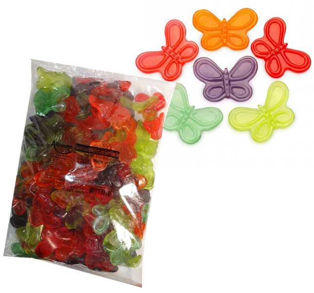 Gummi Large Butterflies, by Albanese Confectionery/Other,  and more Confectionery at The Professors Online Lolly Shop. (Image Number :7299)