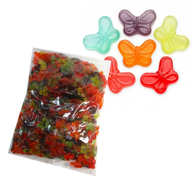 Gummi Small Butterflies, by Albanese Confectionery/Other,  and more Confectionery at The Professors Online Lolly Shop. (Image Number :7298)