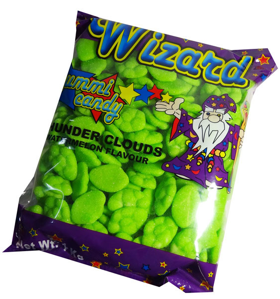 Wizard Thunder Clouds - Green Watermelon, by Wizard,  and more Confectionery at The Professors Online Lolly Shop. (Image Number :7215)