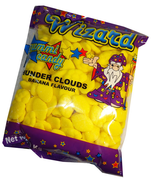 Wizard Thunder Clouds - Yellow Banana, by Wizard,  and more Confectionery at The Professors Online Lolly Shop. (Image Number :7214)