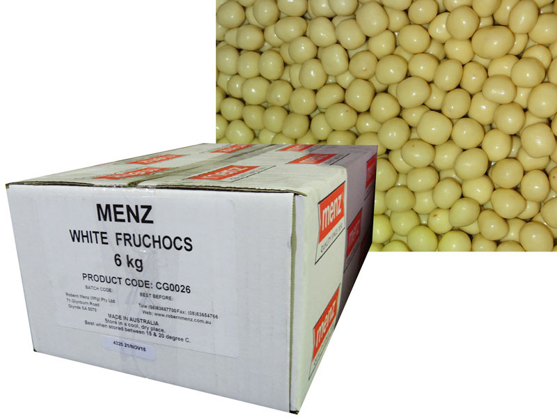 White FruChocs, by Robern Menz,  and more Confectionery at The Professors Online Lolly Shop. (Image Number :7248)