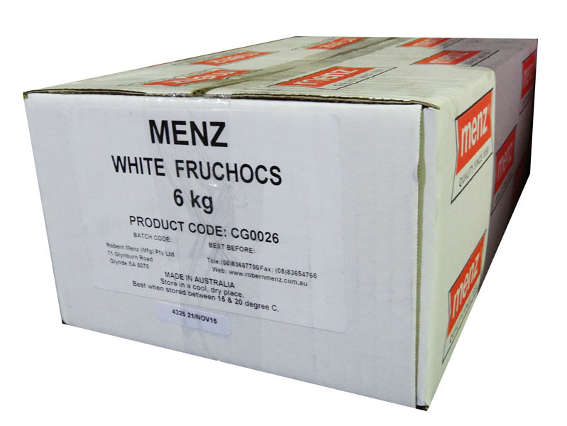 White FruChocs, by Robern Menz,  and more Confectionery at The Professors Online Lolly Shop. (Image Number :7249)