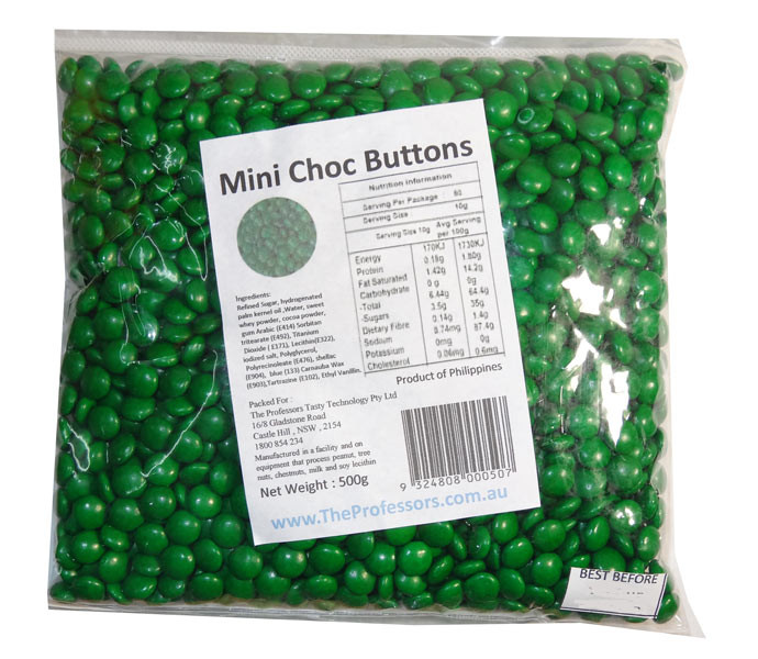 Mini Choc Buttons - Green, by Brisbane Bulk Supplies,  and more Confectionery at The Professors Online Lolly Shop. (Image Number :7336)