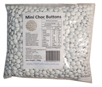 Mini Choc Buttons - White, by Brisbane Bulk Supplies,  and more Confectionery at The Professors Online Lolly Shop. (Image Number :7331)