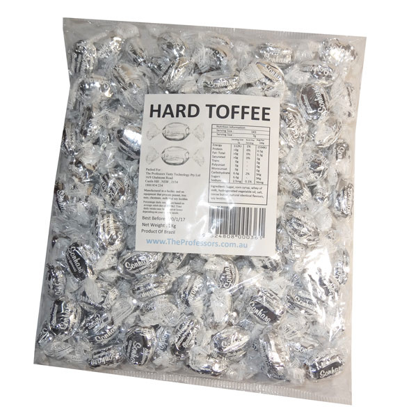 Sweet Treats Wrapped Hard Toffees - Silver - Coconut, by Brisbane Bulk Supplies,  and more Confectionery at The Professors Online Lolly Shop. (Image Number :7342)