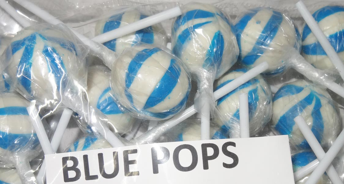 Ball Pops - Blue, by Brisbane Bulk Supplies,  and more Confectionery at The Professors Online Lolly Shop. (Image Number :7356)