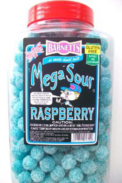 Barnetts Mega Sour Candy - Blue Raspberry Flavour, by Barnetts,  and more Confectionery at The Professors Online Lolly Shop. (Image Number :7278)