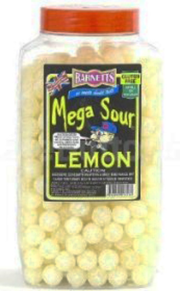Barnetts Mega Sour Candy - Lemon Flavour, by Barnetts,  and more Confectionery at The Professors Online Lolly Shop. (Image Number :7273)