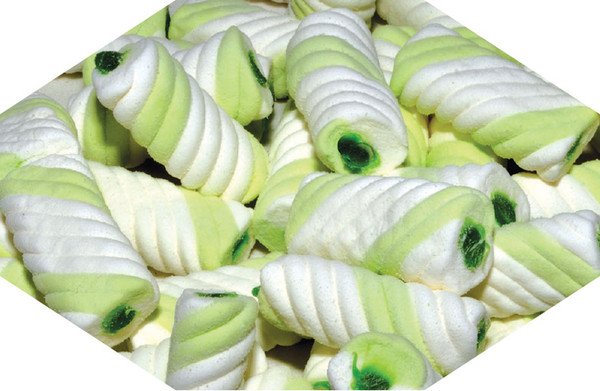 Gummy Filled Marshmallow Twists - Green Apple, by Universal Candy,  and more Confectionery at The Professors Online Lolly Shop. (Image Number :7596)