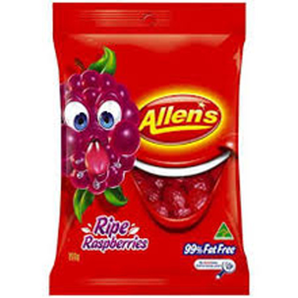 Allens Ripe Raspberries, by Allens Confectionery,  and more Confectionery at The Professors Online Lolly Shop. (Image Number :7733)