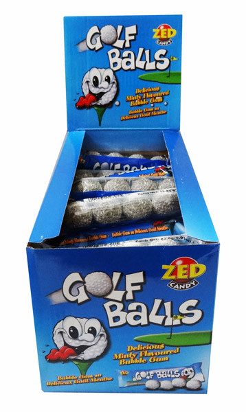 Golf Balls - Mint Bubble Gum, by Zed,  and more Confectionery at The Professors Online Lolly Shop. (Image Number :7725)