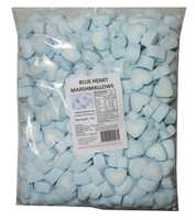 Sweet Treats Heart Shaped Marshmallows - Batch Issues - Blue and White, by Brisbane Bulk Supplies,  and more Confectionery at The Professors Online Lolly Shop. (Image Number :7829)