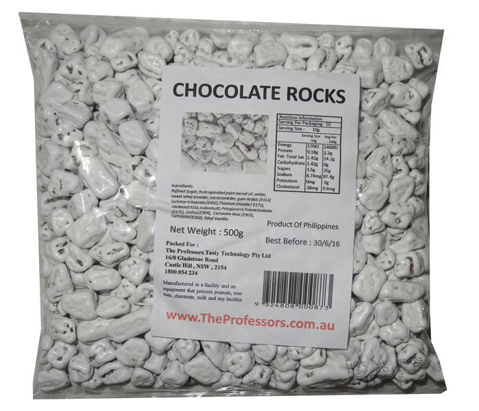 Chocolate Rocks - White, by Brisbane Bulk Supplies,  and more Confectionery at The Professors Online Lolly Shop. (Image Number :7836)