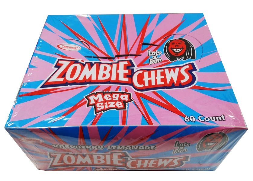Zombie Chews - Raspberry/Lemonade, by Sweetmans,  and more Confectionery at The Professors Online Lolly Shop. (Image Number :8333)