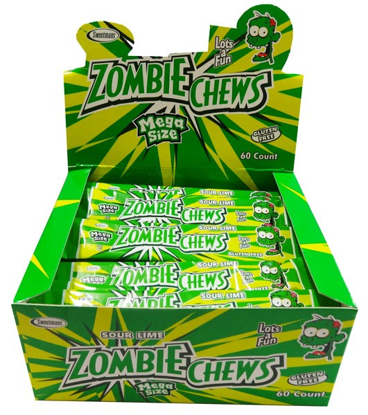 Zombie Chews - Sour Lime, by Sweetmans,  and more Confectionery at The Professors Online Lolly Shop. (Image Number :8334)