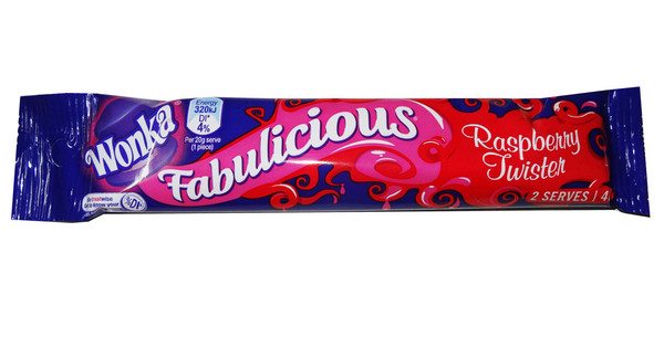 Fabulicious Raspberry Twister - 2 Serve Packs, by RJs,  and more Confectionery at The Professors Online Lolly Shop. (Image Number :7822)