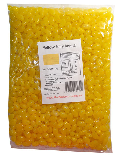 Sweet Treats Mini Jelly Beans - Yellow with a Lemon Flavour, by Brisbane Bulk Supplies,  and more Confectionery at The Professors Online Lolly Shop. (Image Number :7971)