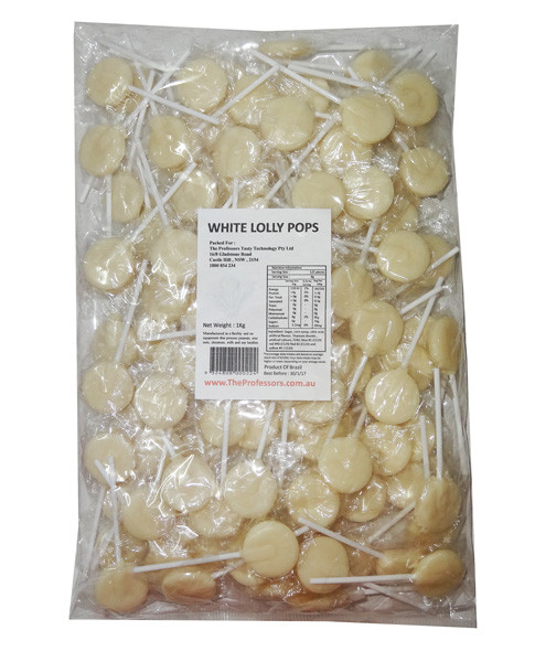 Sweet Treats Flat Pops - Single Colour - White, by Brisbane Bulk Supplies,  and more Confectionery at The Professors Online Lolly Shop. (Image Number :7968)
