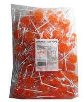 Sweet Treats Flat Pops - Single Colour - Orange, by Brisbane Bulk Supplies,  and more Confectionery at The Professors Online Lolly Shop. (Image Number :7969)