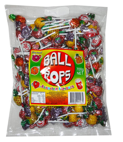Tasty Treats Ball Pops, by Tasty Treats,  and more Confectionery at The Professors Online Lolly Shop. (Image Number :8117)