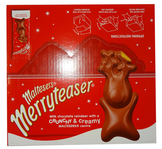 Merryteaser - Milk Choc Reindeer, by Mars,  and more Confectionery at The Professors Online Lolly Shop. (Image Number :9443)