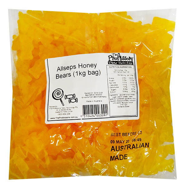 Allseps Honey Bears, by Allseps,  and more Confectionery at The Professors Online Lolly Shop. (Image Number :12151)