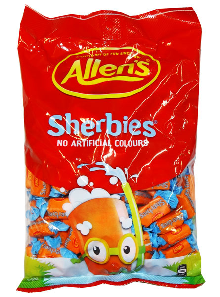 Allens Sherbies, by Allens Confectionery,  and more Confectionery at The Professors Online Lolly Shop. (Image Number :8292)