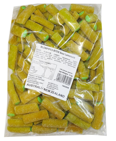 Blowpipes Bites - Sour Lemonade, by AIT Confectionery,  and more Confectionery at The Professors Online Lolly Shop. (Image Number :8402)