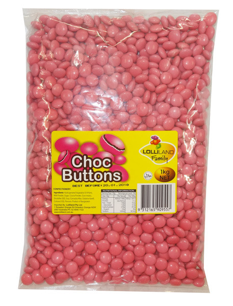 Lolliland Choc Buttons - Pink, by Lolliland,  and more Confectionery at The Professors Online Lolly Shop. (Image Number :8636)