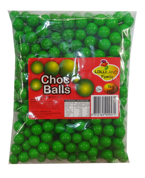 Lolliland Choc Balls - Green, by Lolliland,  and more Confectionery at The Professors Online Lolly Shop. (Image Number :8634)