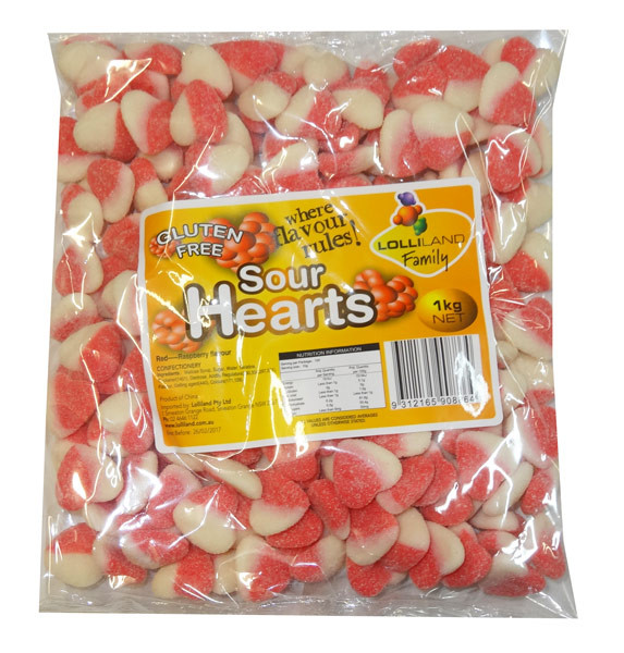 Lolliland Sour Hearts - Red and White, by Lolliland,  and more Confectionery at The Professors Online Lolly Shop. (Image Number :8647)
