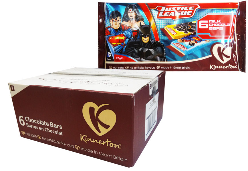 Justice League Chocolate Bars, by Kinnerton,  and more Confectionery at The Professors Online Lolly Shop. (Image Number :8732)