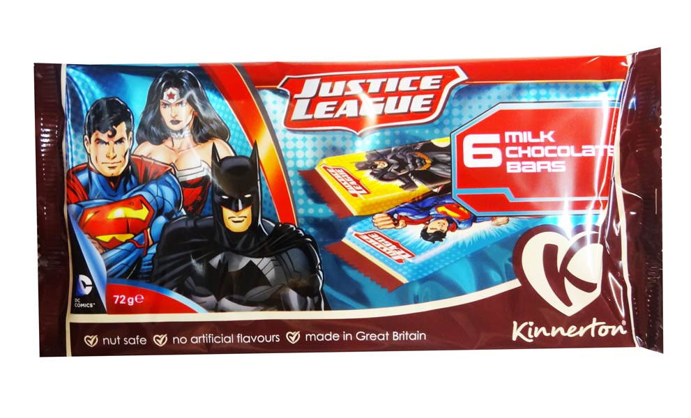 Justice League Chocolate Bars, by Kinnerton,  and more Confectionery at The Professors Online Lolly Shop. (Image Number :8733)