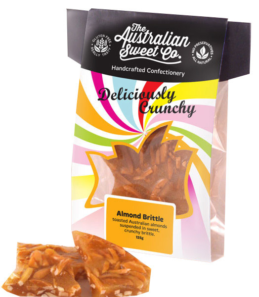 Gourmet Almond Brittle - Card Wrap, by The Australian Sweet Company,  and more Confectionery at The Professors Online Lolly Shop. (Image Number :8720)