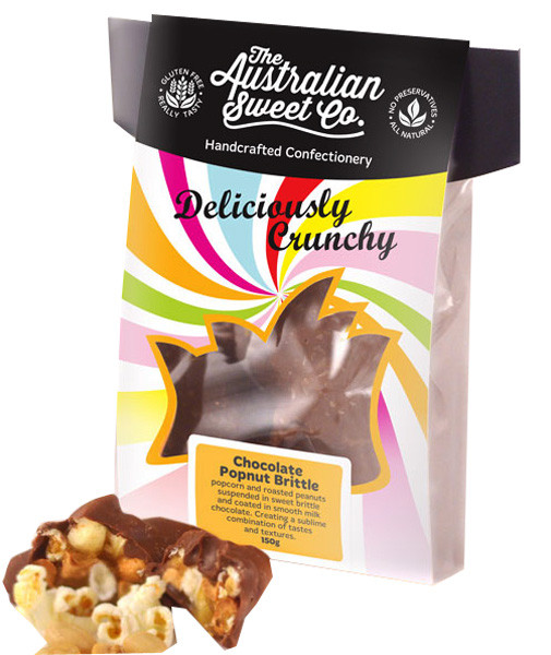 Gourmet Chocolate Popnut Brittle - Card Wrap, by The Australian Sweet Company,  and more Confectionery at The Professors Online Lolly Shop. (Image Number :8726)