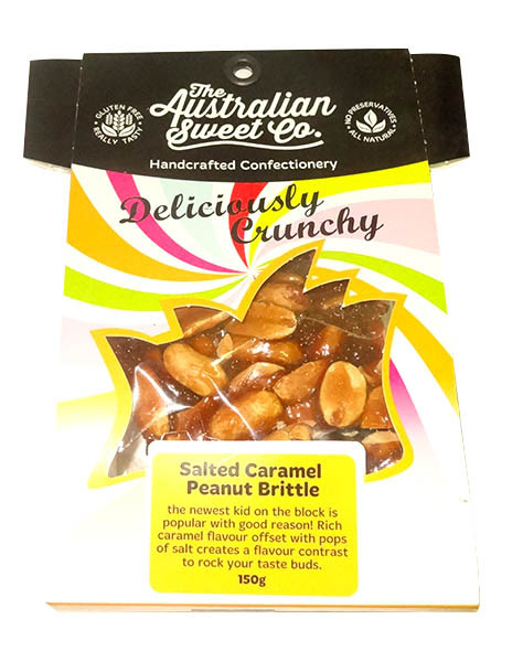 Gourmet Chocolate Chilli Peanut Brittle - Card Wrap, by The Australian Sweet Company,  and more Confectionery at The Professors Online Lolly Shop. (Image Number :9940)