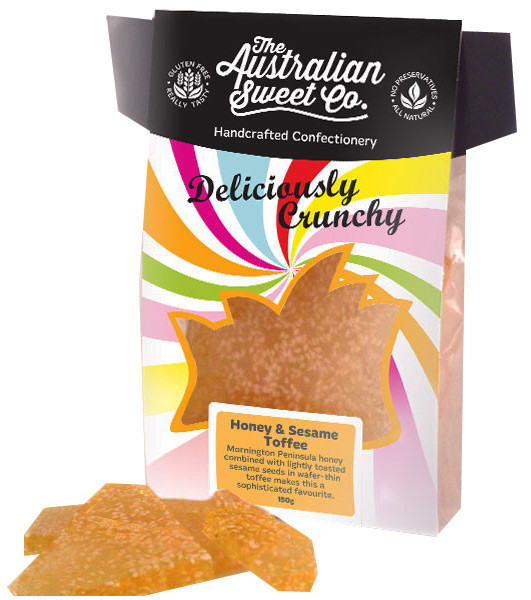 Gourmet Honey & Sesame Toffee - Card Wrap, by The Australian Sweet Company,  and more Confectionery at The Professors Online Lolly Shop. (Image Number :8716)