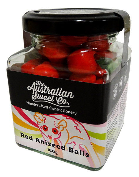 Aniseed Balls - Red, by The Australian Sweet Company,  and more Confectionery at The Professors Online Lolly Shop. (Image Number :12736)