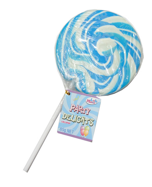 Lolly Mania Party Delights Lollipops - Blue - Blueberry Flavour, by Lolly Mania,  and more Confectionery at The Professors Online Lolly Shop. (Image Number :8695)