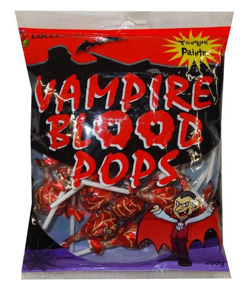 Vampire Blood Pops, by Tasty Treats,  and more Confectionery at The Professors Online Lolly Shop. (Image Number :9381)