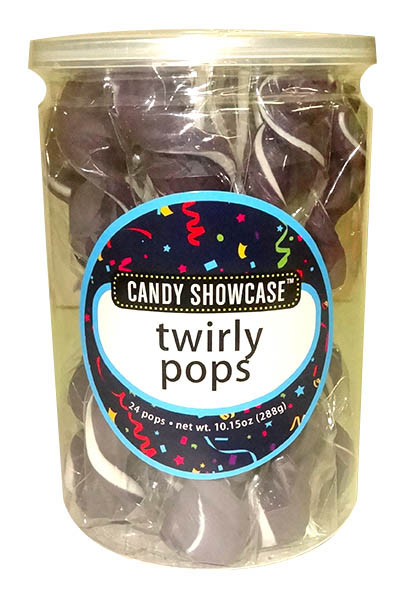 Candy Showcase Twirly Pops - Purple and White, by Lolliland,  and more Confectionery at The Professors Online Lolly Shop. (Image Number :9937)